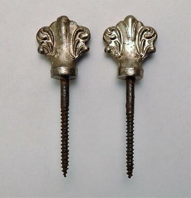 Set of 2 Antique Victorian Ornate Nickel Plated Picture Art Screw Hangers