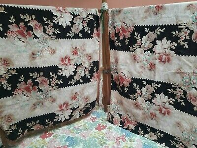Antique/ vintage fabric French floral cotton cretonne victorian shabby chic two