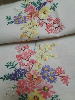 "Vintage 1930 Tablecloth Hand Embroidery Bouquets Floral Ribbons Linen 42"" Square"