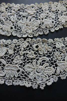 Pair of antique hand worked Venetian Gros point lace cuffs.