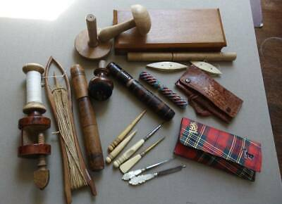 20 antique / vintage sewing related items - wood treen clamp, MOP, bone beadwork