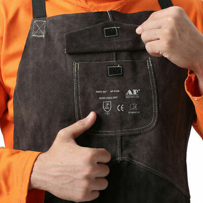 Continuous Welted Seams Work Protective Apron Cowhide Leather Welding Clothing