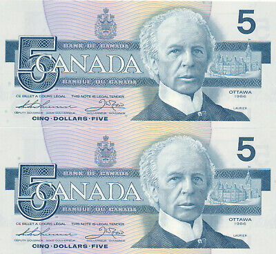 Bank Of Canada Lot Of 2 In A Row 5 Dollars 1986 Bc56B Fpr - Au/Unc