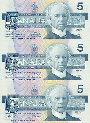 Bank Of Canada Lot Of 3 In A Row 5 Dollars 1986 Bc56B Fnt - Unc