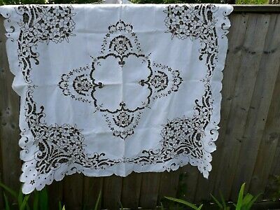 """Vintage Madeira Tablecloth Cutwork Linen Hand Embroidery Floral 40X42"""""""