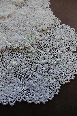 5 immaculate unused antique white Clones Irish crochet lace doilies or table mat
