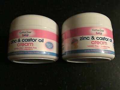 2 x 200ml (400ml) Cotton Tree Nappy Rash Zinc & Castor Oil Cream Lanolin Free