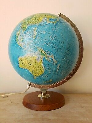 "Vintage Illuminated Danish Scan Globe 12"" Denmark Teak Plinth Light Up Lamp 1970"