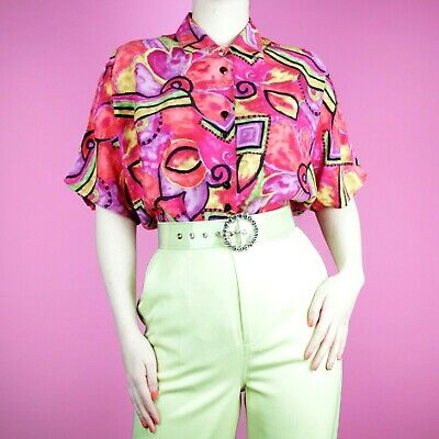 VINTAGE 90s 80s Retro Pattern Kitsch Neon Red Pink Funky Blouse Shirt Top M L
