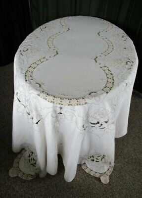 "LARGE TABLECLOTH HAND EMBROIDERED & HAND CROCHET-64""x100"""