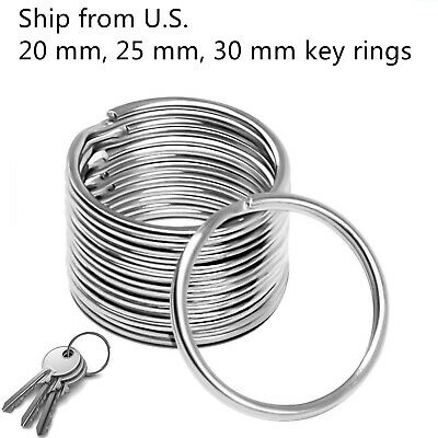 Premium Pack 20/25/30 mm Key Rings Chains Split Ring Hoop Metal Steel in Silver