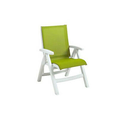 Grosfillex UT003004 Fern Green Folding Sling Chair w/ White Frame (2 Per Case)