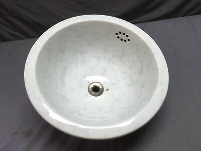 "Antique 12"" Round Ceramic White Porcelain Under mount Marble Sink Basin 64-19E"