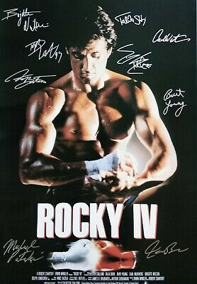 ROCKY IV ROCKY 4 MOVIE Poster Signed by 9 cast member Excellent cond replica
