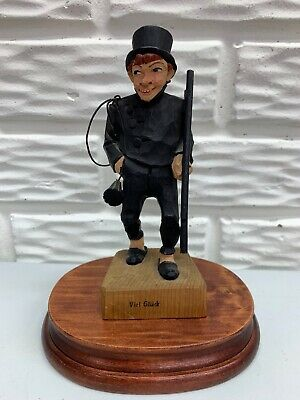 "Vintage German Hand Carved Wooden 6-1/2"" Chimney Sweep "" Viel Gluck"" (Good Luck)"