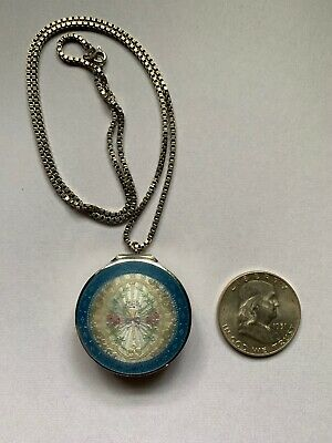 Antique/Vintage F&B Sterling Silver /Enamel Guilloche Compact/Pill box W/ Chain