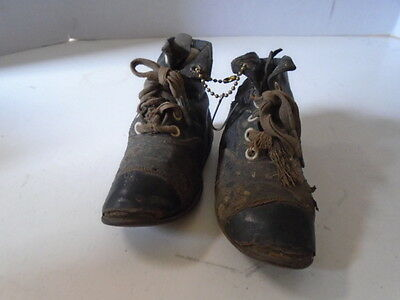 Vintage Leather Baby Shoes Tie Boots Black Ankle Shoestrings Included