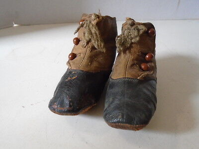 Vintage Leather Baby Shoes Button Boots Brown Black Ankle Boys
