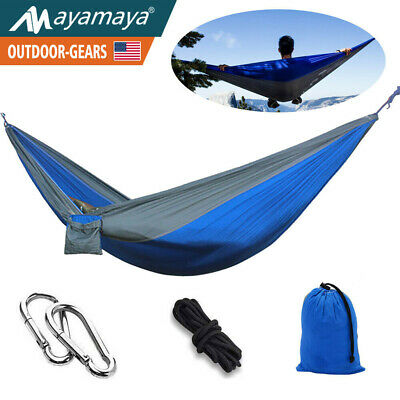 Portable 2 Person Camping Hammock Nylon Parachute Lightweight Travel Backpacking
