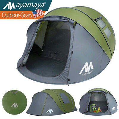 4 Person Camping Dome Tent Instant Pop Up Waterproof Travel Sun Canopy Green Big