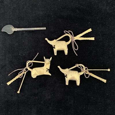 Vintage cat & elephant brass cabinet collectible locks with keys Nepal Asian #71