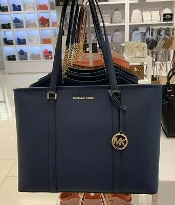 a3d4189076bbff Nwt Michael Kors Sady Large Multifunction Top Zip Leather Tote Bag Navy
