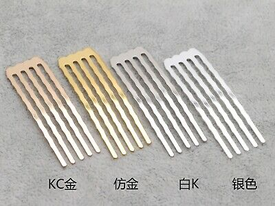 20 Silver Gold Blank Metal Hair Comb 15mm with 5 Teeth For Bridal Hair Accessori