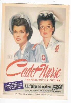 World War Ii Postcard Reprint Cadet Nurse The Girl With A Future