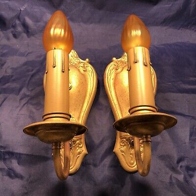 Pair of very decorative Victorian raw yellow brass sconces Nice! 55A
