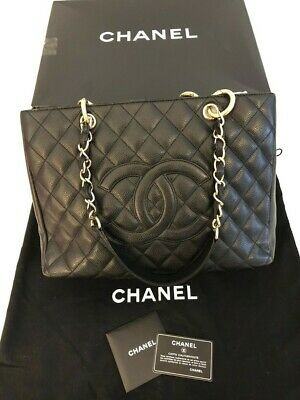 48fbe3022c2c7a Authentic Chanel Black Caviar Classic Grand Shopper Tote Gst With Gold  Hardware