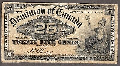 1900 Dominion of Canada - 25 Cents Bank Note - Very Good - DC-15b - AF14