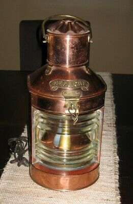 HEKLICHT Copper Ship's Electrified Brass Lantern, Marine Nautical Maritime Exc.