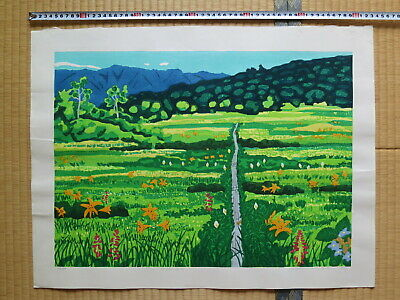 Japanese Woodblock Print, Fumio Kitaoka, Mountain Meadow, Large, Beautiful