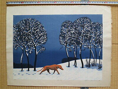 Japanese Woodblock Print, Waiichi Hayashi, Dog in Snow, Large, Beautiful