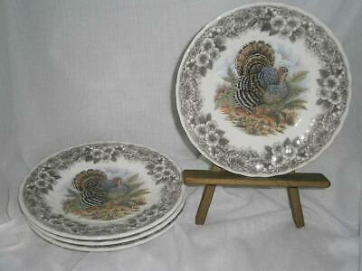 4 Churchill THANKSGIVING SALAD PLATES 12 Avail Brown Trim /  Multi color Turkey