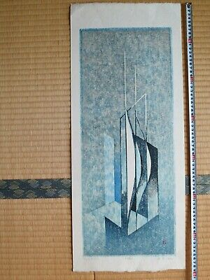 Japanese Woodblock Print, Yuki Rei, Abstract in Blue, Large, Beautiful