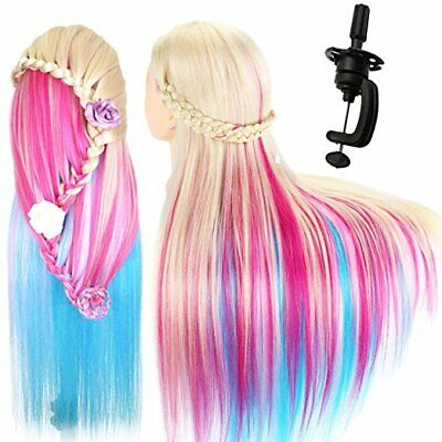 "26"" Salon Home Hair Training Head Hairdressing Styling Mannequin Doll Multicolor"