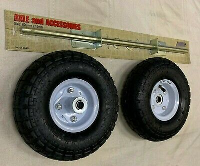 "2 x 10"" Wheels & Axle Kit, Trolley Wheels with Axle Set,  250mm 4.10/3.5-4"