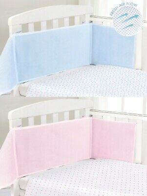 Baby Nursery Cot Bumper Breathable Air Flow Mesh Cot Liner Tie On Wrap Blue Pink