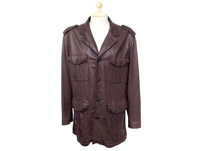 4e2b2d5d10726 Blouson Veste Prada Syv181 En Cuir Marron L 54 Manteau Long Leather Jacket  2088€