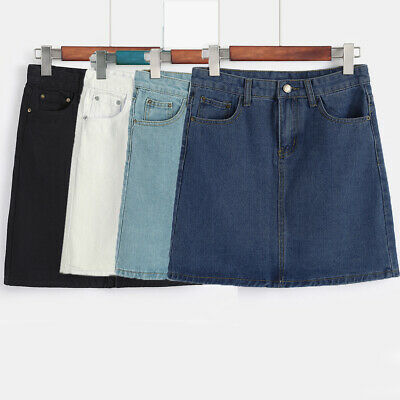 Womens Casual Wrapped Rockabilly Denim Pocket Cocktail Party Ladies Mini Skirt
