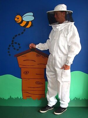 PREMIUM QUALITY Beekeeping Suit Round Hat - White. All Sizes. Protective Wear