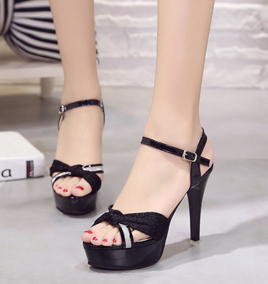Sexy Women's Stiletto Open Toe Platform High Heels strappy buckle Sandals Shoes