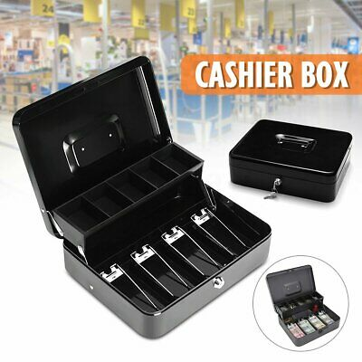 Portable Security Lockable Cash Box Tiered Tray Money Drawer Safe Storage Black