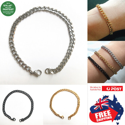 Stainless Steel Mens 5mm Chain Curb Link Bracelet Bangle Silver Gold Black 1pc
