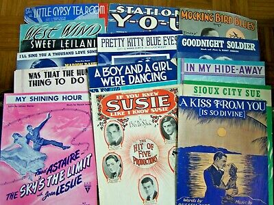 15- PIECES OF VINTAGE SHEET MUSIC-1920's to 1940's ERA-MIXED LOT--Lot #3