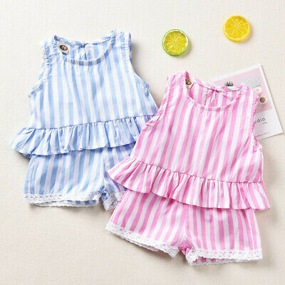 NEW Boutique Toddler Baby Girl Summer Stripe Tops Shorts 2Pcs Outfits Set 2019