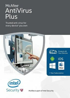McAfee AntiVirus Plus 2019, 1 Year, 1 PC's Global Activation, email Delivery