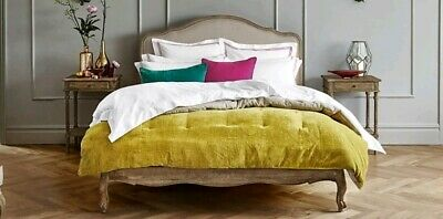 Feather & Black Double size Sienna french upholstered Bed Weathered Oak RRP £995
