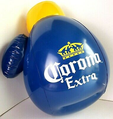 "Corona Extra Beer Inflatable NEW 16"" Boxing Glove Blue & Yellow Cerveza Bar Cave"